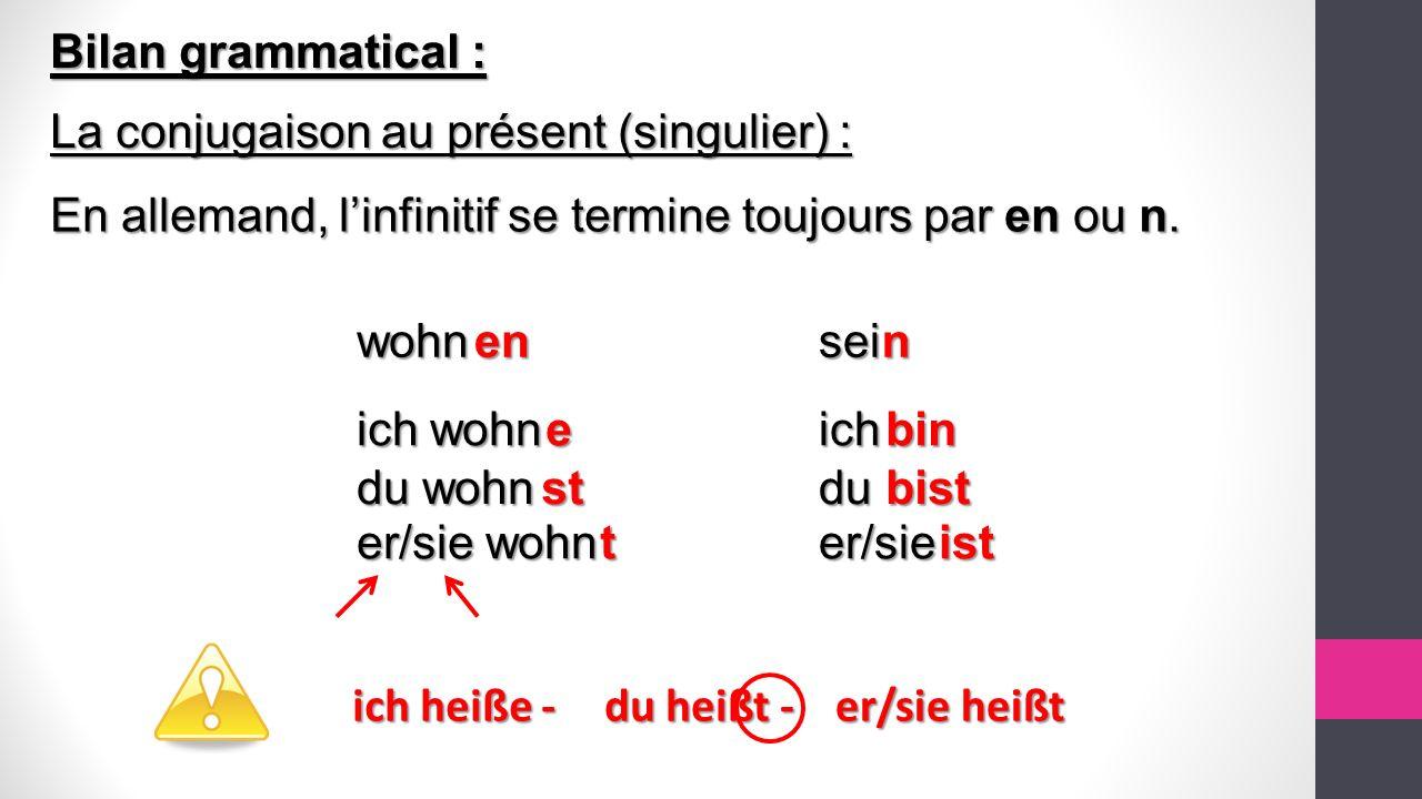 Bilan grammatical : La conjugaison au présent (singulier) : En allemand, l'infinitif se termine toujours par en ou n.