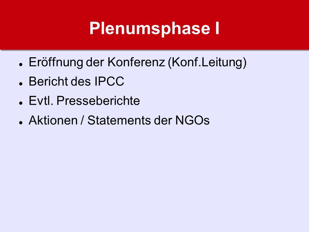 Plenumsphase I Eröffnung der Konferenz (Konf.Leitung) Bericht des IPCC Evtl.