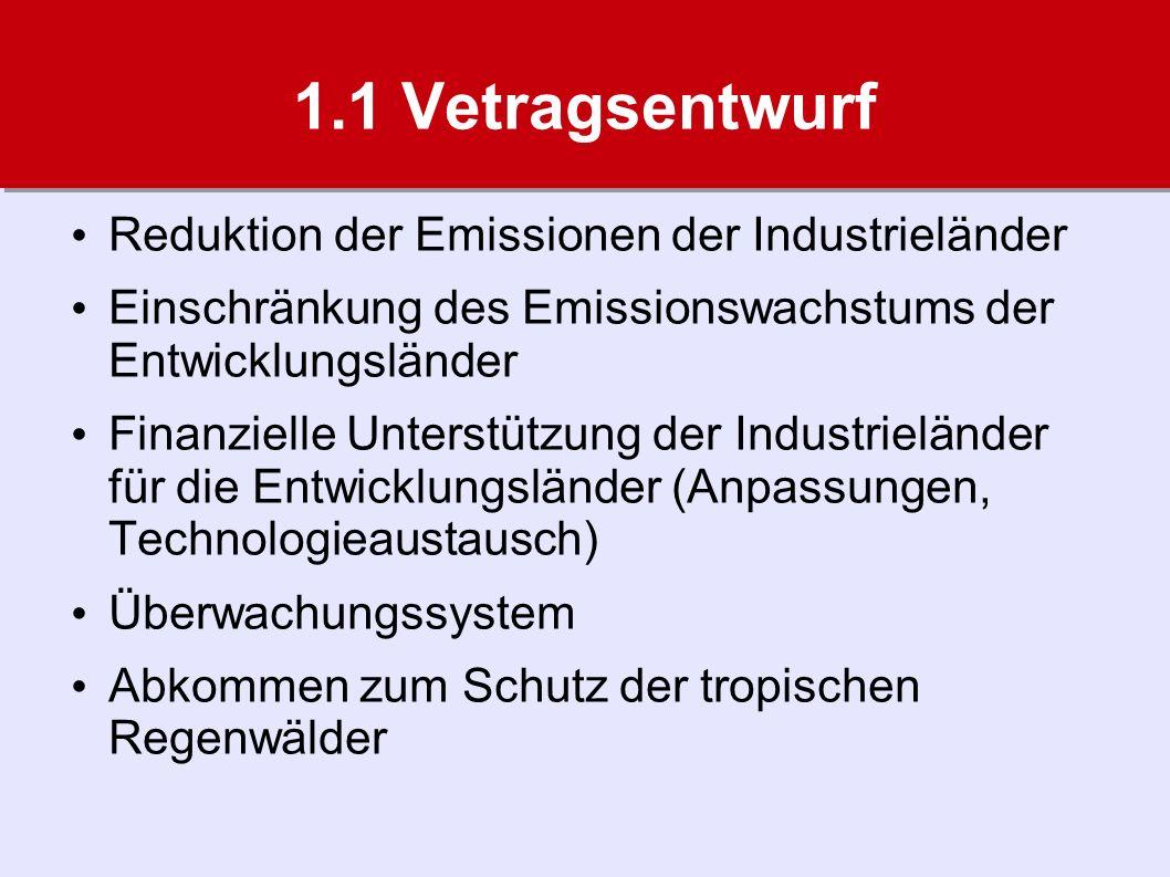 1.1 Vetragsentwurf Reduktion der Emissionen der Industrieländer Einschränkung des Emissionswachstums der Entwicklungsländer Finanzielle Unterstützung der Industrieländer für die Entwicklungsländer (Anpassungen, Technologieaustausch) Überwachungssystem Abkommen zum Schutz der tropischen Regenwälder