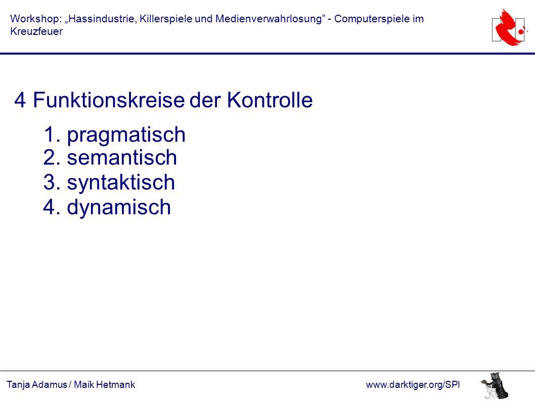 """Tanja Adamus / Maik Hetmankwww.darktiger.org/SPI Workshop: """"Hassindustrie, Killerspiele und Medienverwahrlosung - Computerspiele im Kreuzfeuer 4 Funktionskreise der Kontrolle 1."""