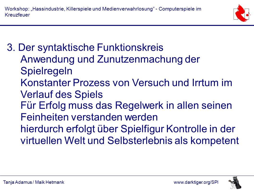 """Tanja Adamus / Maik Hetmankwww.darktiger.org/SPI Workshop: """"Hassindustrie, Killerspiele und Medienverwahrlosung - Computerspiele im Kreuzfeuer 3."""