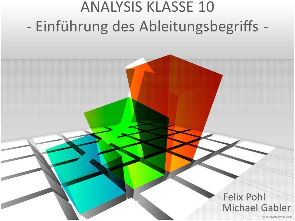 ANALYSIS KLASSE 10 - Einführung des Ableitungsbegriffs - Felix Pohl Michael Gabler