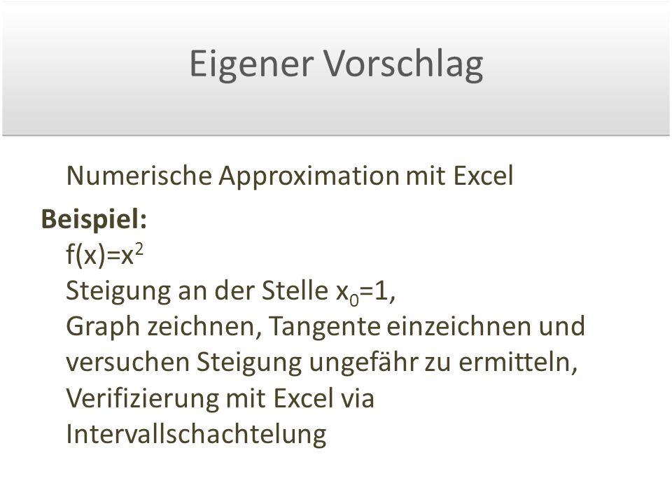Eigener Vorschlag Numerische Approximation mit Excel Beispiel: f(x)=x 2 Steigung an der Stelle x 0 =1, Graph zeichnen, Tangente einzeichnen und versuchen Steigung ungefähr zu ermitteln, Verifizierung mit Excel via Intervallschachtelung