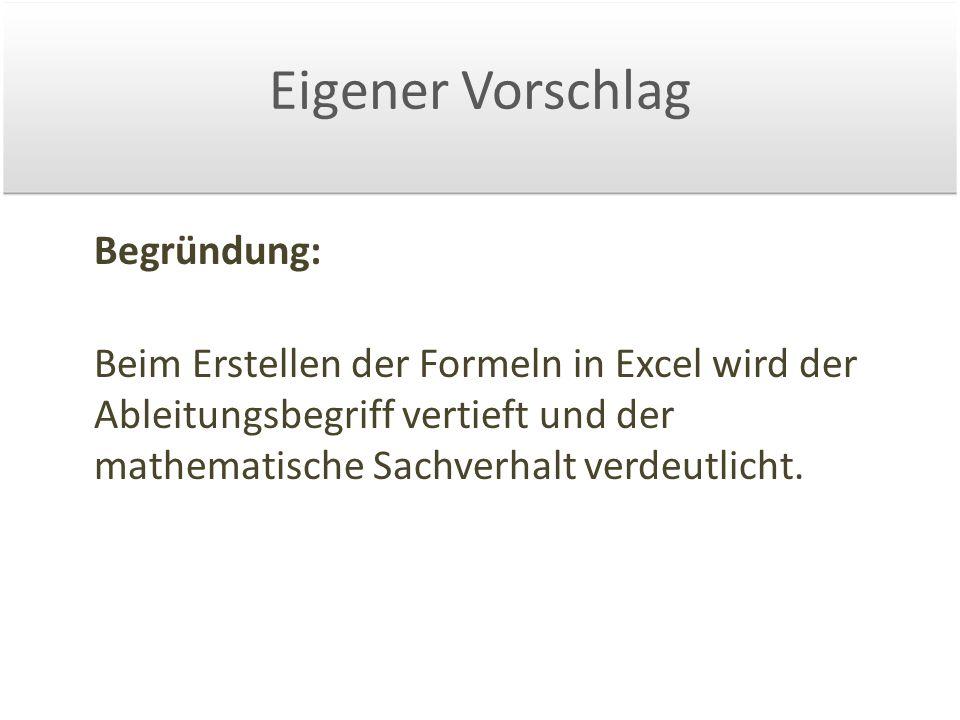 Eigener Vorschlag Begründung: Beim Erstellen der Formeln in Excel wird der Ableitungsbegriff vertieft und der mathematische Sachverhalt verdeutlicht.