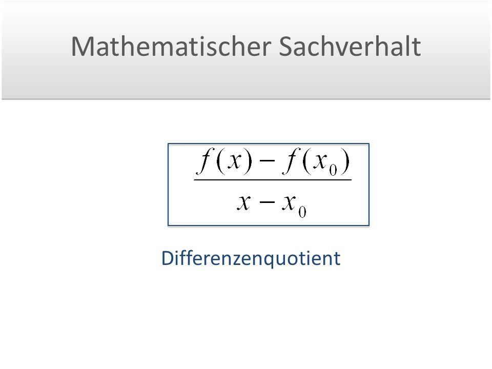 Mathematischer Sachverhalt Differenzenquotient
