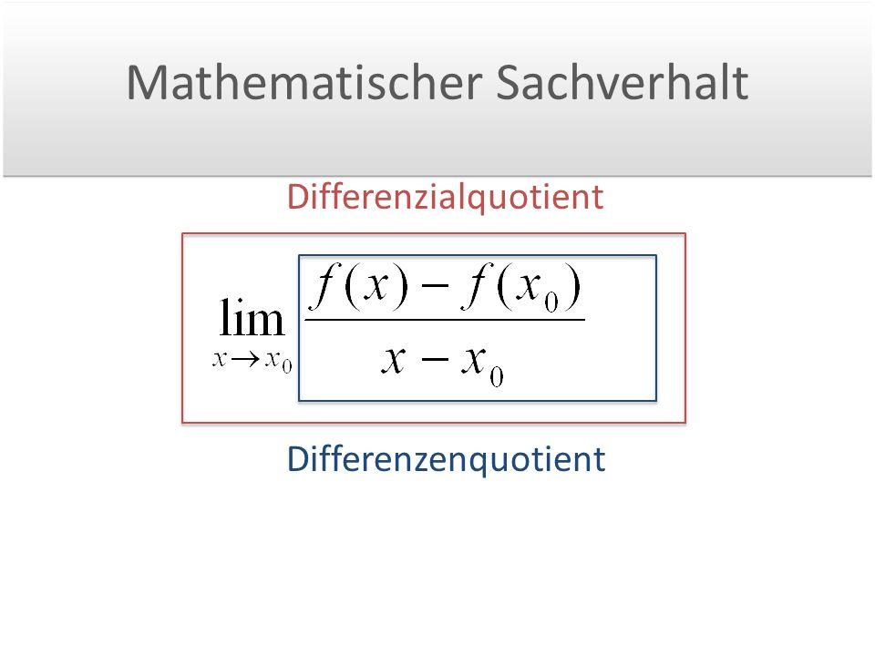 Mathematischer Sachverhalt Differenzenquotient Differenzialquotient