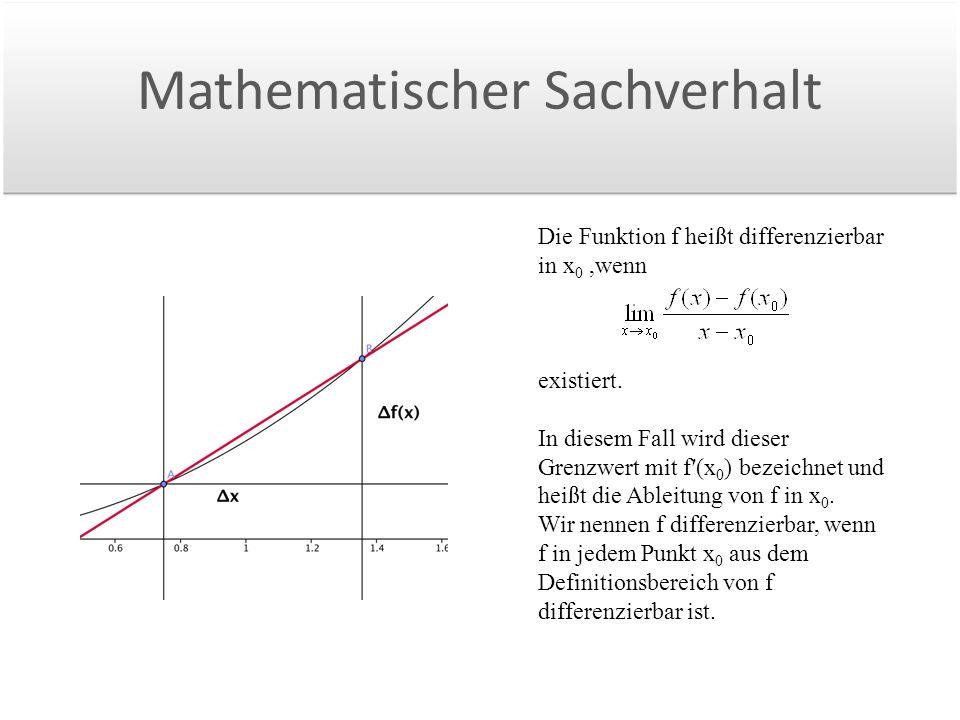 Mathematischer Sachverhalt Die Funktion f heißt differenzierbar in x 0,wenn existiert.