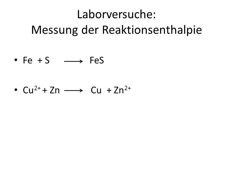 Laborversuche: Messung der Reaktionsenthalpie Fe + S FeS Cu 2+ + Zn Cu + Zn 2+