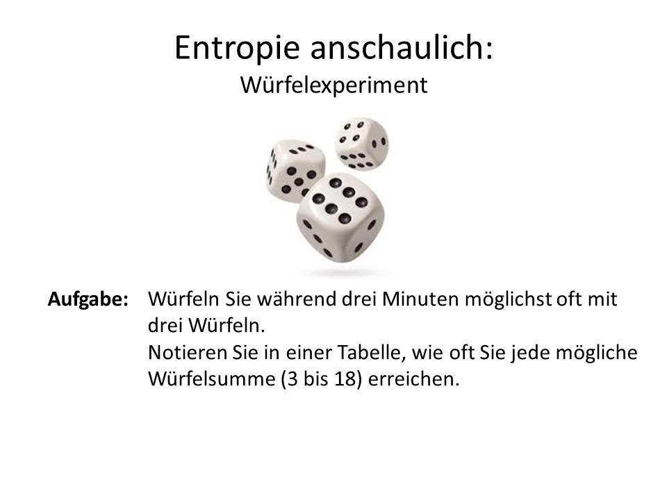Entropie anschaulich: Würfelexperiment Aufgabe:Würfeln Sie während drei Minuten möglichst oft mit drei Würfeln.