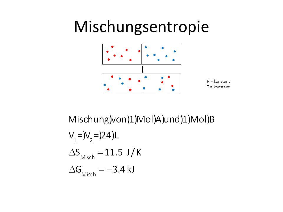 Mischungsentropie P = konstant T = konstant