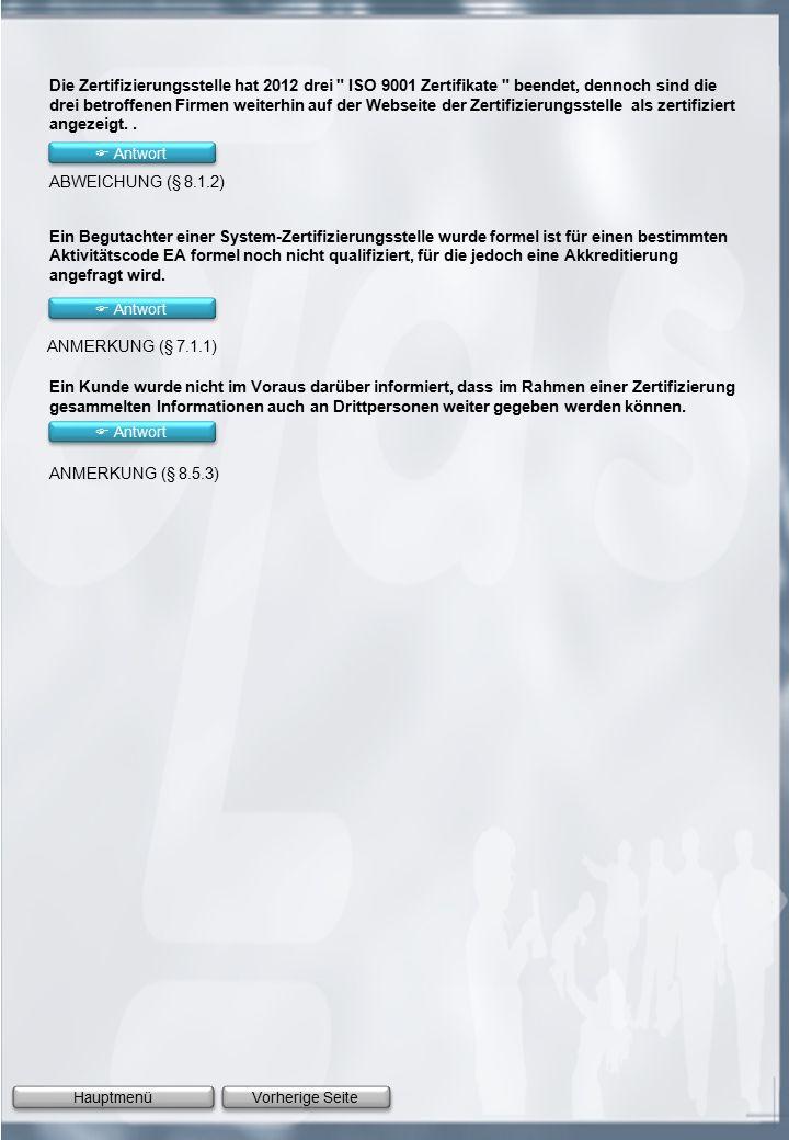Vorherige Seite Hauptmenü Die Zertifizierungsstelle hat 2012 drei ISO 9001 Zertifikate beendet, dennoch sind die drei betroffenen Firmen weiterhin auf der Webseite der Zertifizierungsstelle als zertifiziert angezeigt..