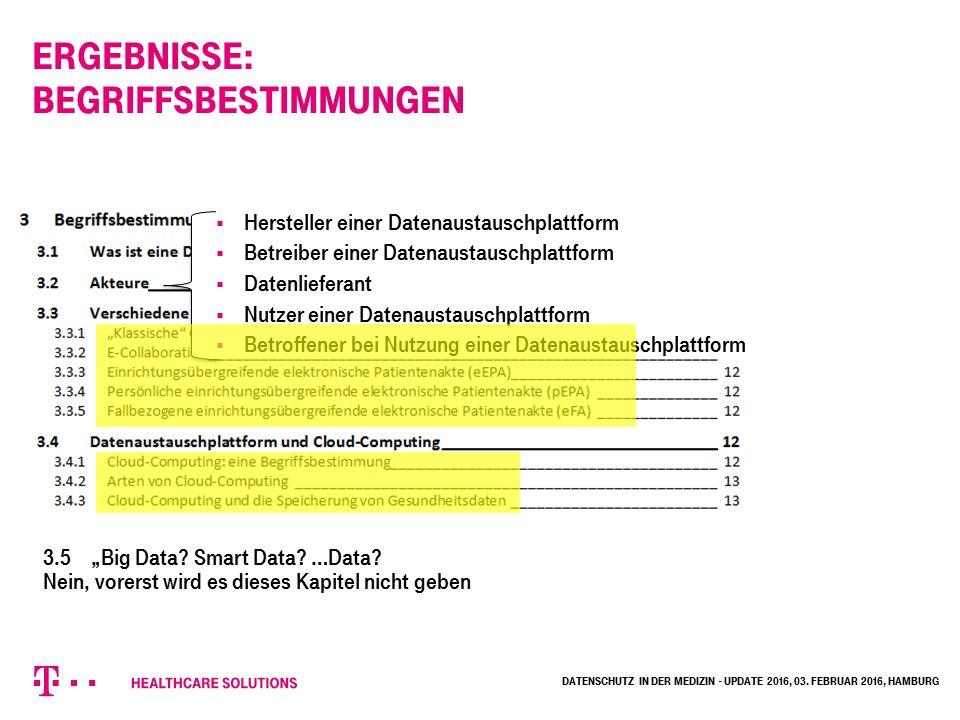 """Ergebnisse: Begriffsbestimmungen  Hersteller einer Datenaustauschplattform  Betreiber einer Datenaustauschplattform  Datenlieferant  Nutzer einer Datenaustauschplattform  Betroffener bei Nutzung einer Datenaustauschplattform 3.5""""Big Data."""