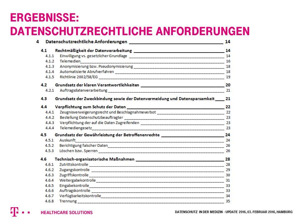 Ergebnisse: Datenschutzrechtliche Anforderungen Datenschutz in der Medizin - Update 2016, 03.