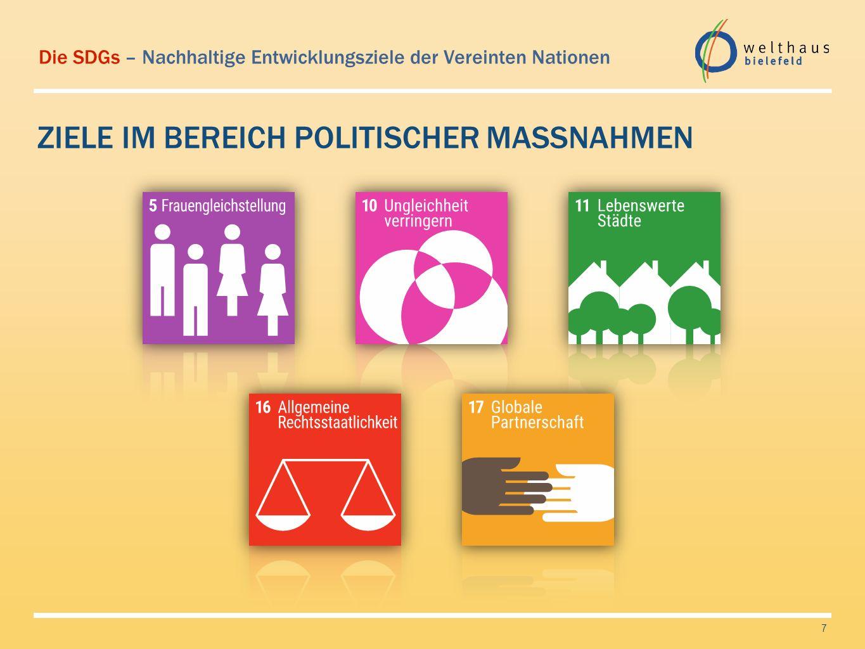 Die SDGs – Nachhaltige Entwicklungsziele der Vereinten Nationen ZIELE IM BEREICH ÖKOLOGIE 8
