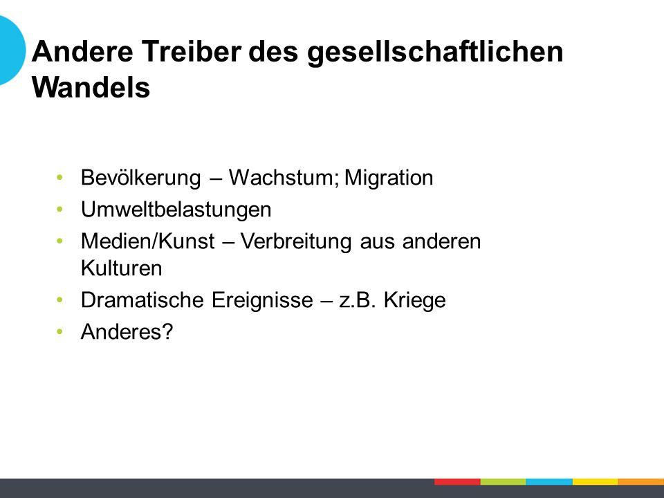 Bevölkerung – Wachstum; Migration Umweltbelastungen Medien/Kunst – Verbreitung aus anderen Kulturen Dramatische Ereignisse – z.B.