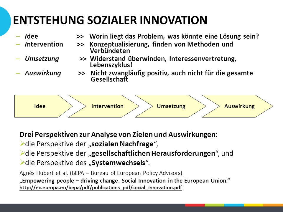 – Idee >> Worin liegt das Problem, was könnte eine Lösung sein? – Intervention >> Konzeptualisierung, finden von Methoden und Verbündeten – Umsetzung