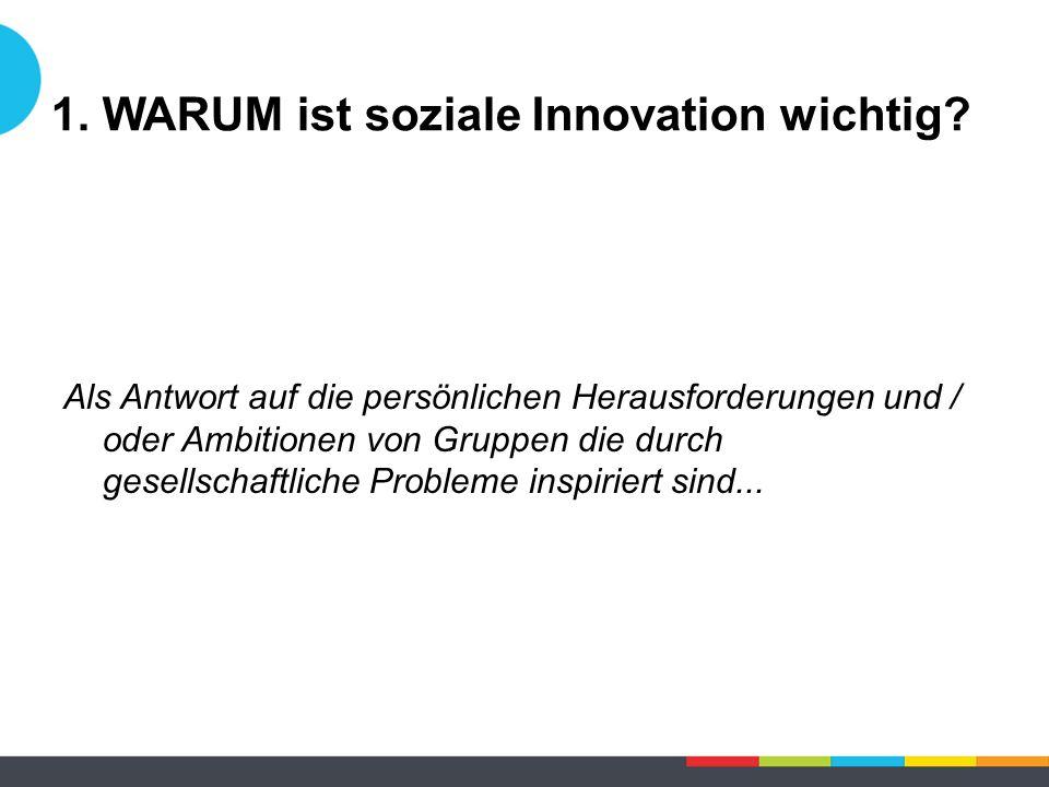 1. WARUM ist soziale Innovation wichtig? Als Antwort auf die persönlichen Herausforderungen und / oder Ambitionen von Gruppen die durch gesellschaftli