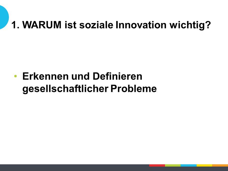 Erkennen und Definieren gesellschaftlicher Probleme 1. WARUM ist soziale Innovation wichtig?