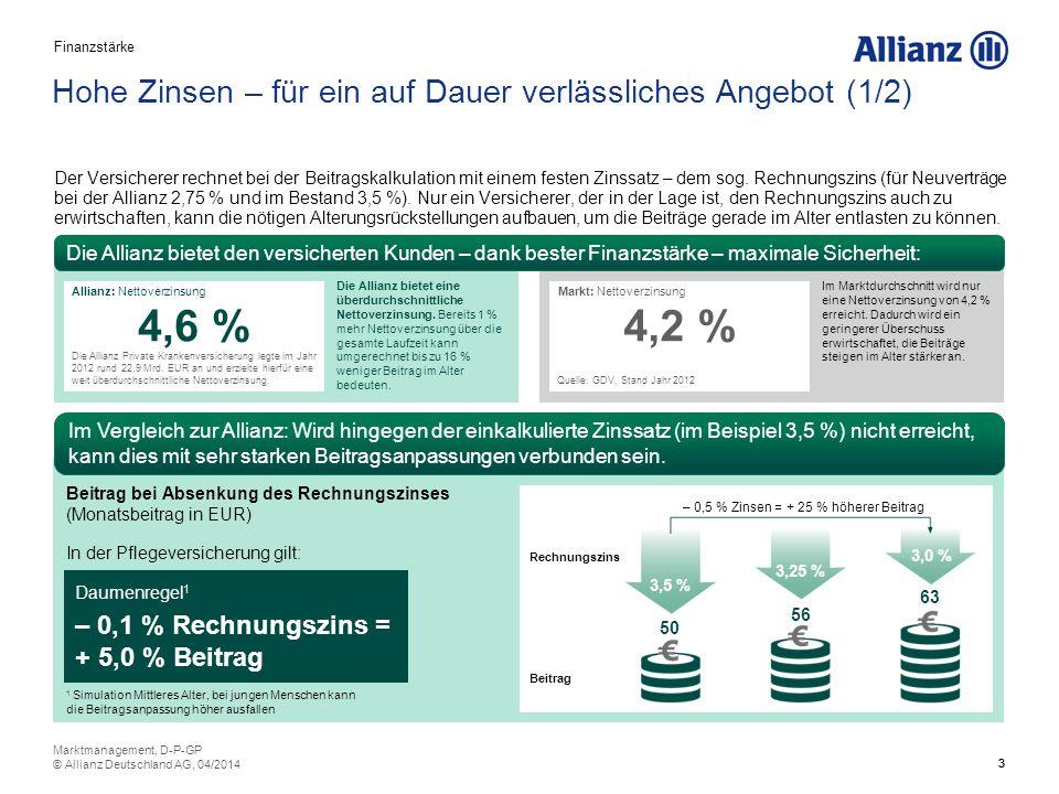 4 Hohe Zinsen – für ein auf Dauer verlässliches Angebot (2/2) Finanzstarke Versicherer erwirtschaften i.