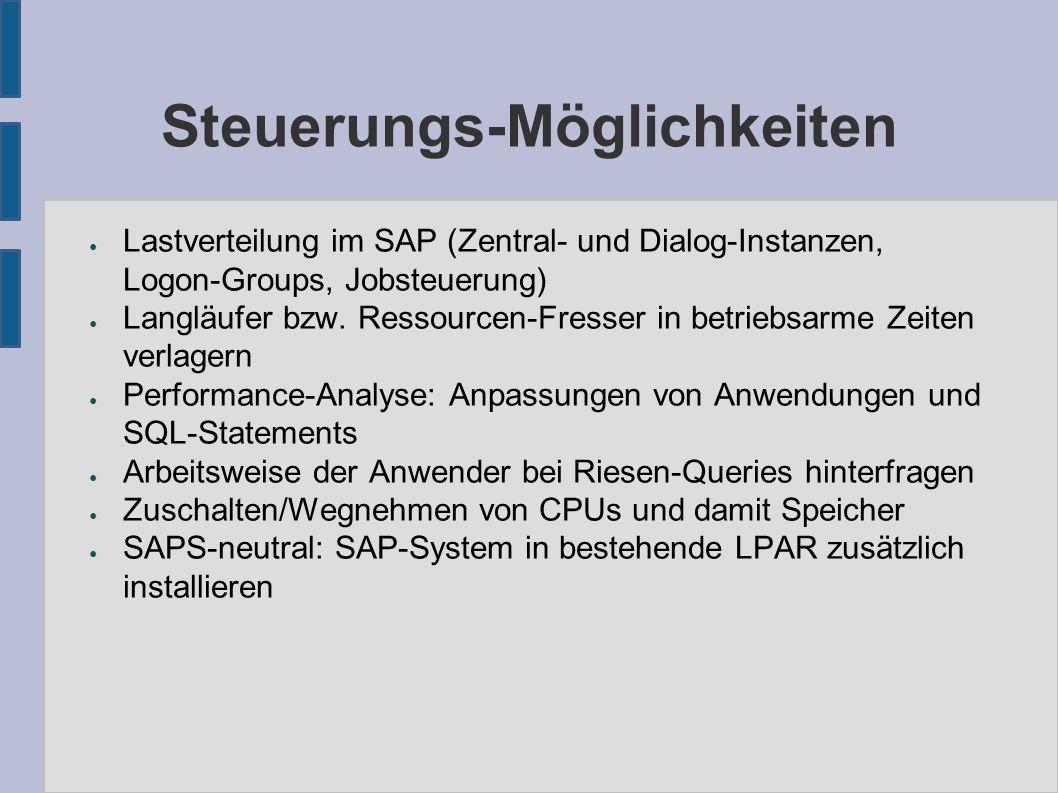 Steuerungs-Möglichkeiten ● Lastverteilung im SAP (Zentral- und Dialog-Instanzen, Logon-Groups, Jobsteuerung) ● Langläufer bzw.