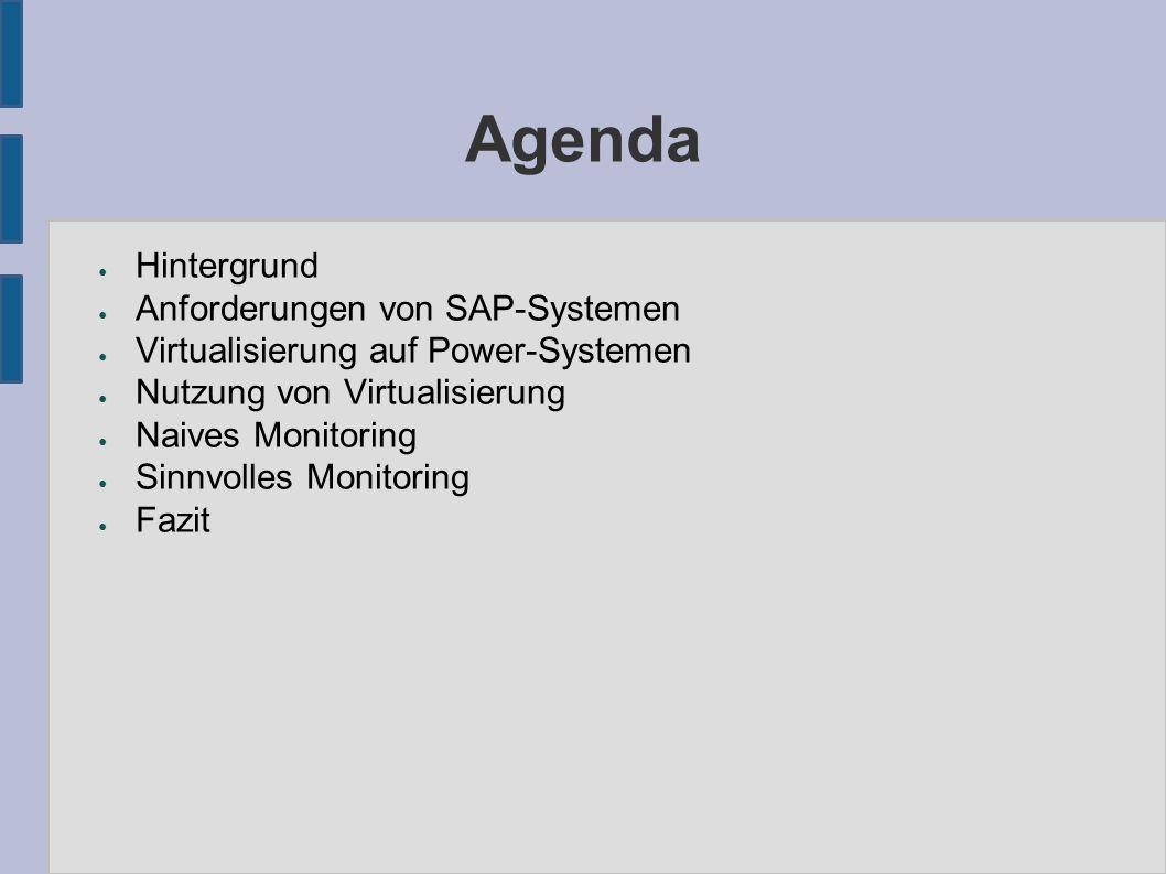 Agenda ● Hintergrund ● Anforderungen von SAP-Systemen ● Virtualisierung auf Power-Systemen ● Nutzung von Virtualisierung ● Naives Monitoring ● Sinnvolles Monitoring ● Fazit