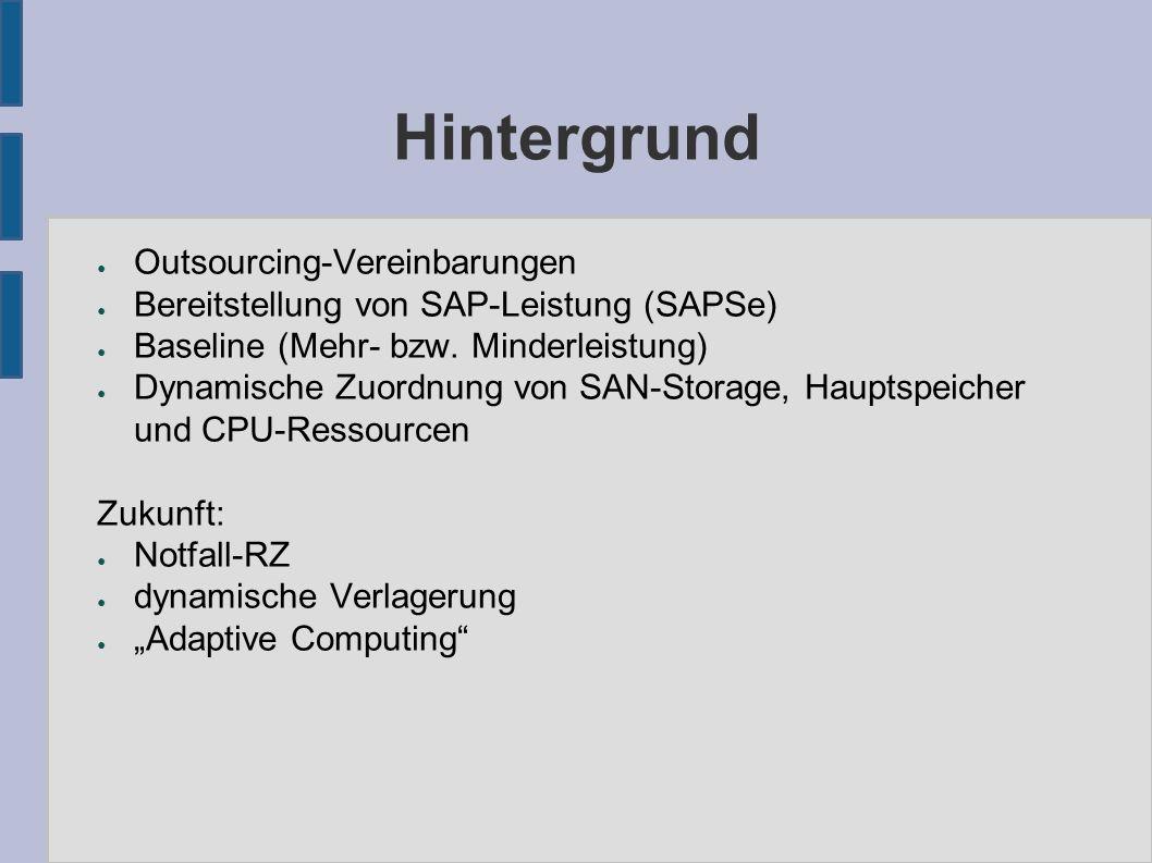 Hintergrund ● Outsourcing-Vereinbarungen ● Bereitstellung von SAP-Leistung (SAPSe) ● Baseline (Mehr- bzw.