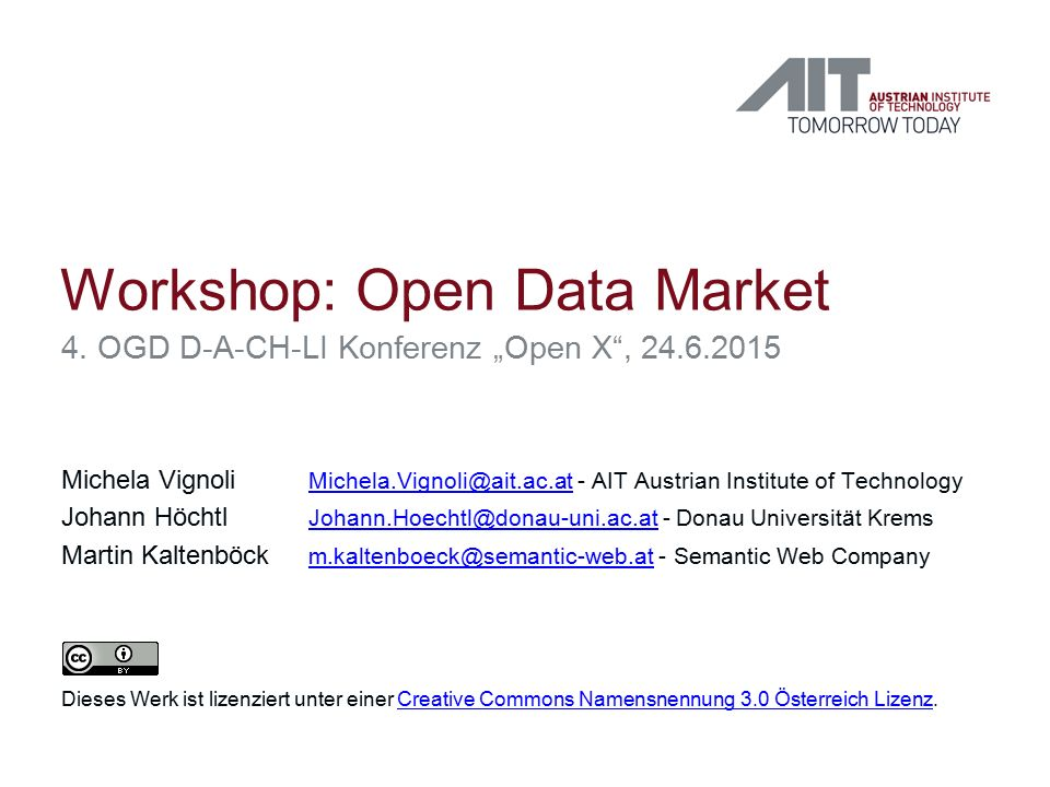 Agenda 1.Kurze Einführung: Open Data und Marktpotenzial 2.Kurze Präsentation der Ergebnisse des Workshops Towards a sustainable Austrian Data Market (CeDEM 2015) 3.Herausforderungen: Barrieren 4.Ausblick: D-A-CH-LI Data Market 5.Offene Diskussion und Austausch  Anforderungen & Hürden eines (Open) Data Markets 2 20.09.2016