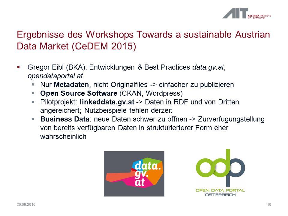 Ergebnisse des Workshops Towards a sustainable Austrian Data Market (CeDEM 2015)  Gregor Eibl (BKA): Entwicklungen & Best Practices data.gv.at, opendataportal.at  Nur Metadaten, nicht Originalfiles -> einfacher zu publizieren  Open Source Software (CKAN, Wordpress)  Pilotprojekt: linkeddata.gv.at -> Daten in RDF und von Dritten angereichert; Nutzbeispiele fehlen derzeit  Business Data: neue Daten schwer zu öffnen -> Zurverfügungstellung von bereits verfügbaren Daten in strukturierterer Form eher wahrscheinlich 10 20.09.2016