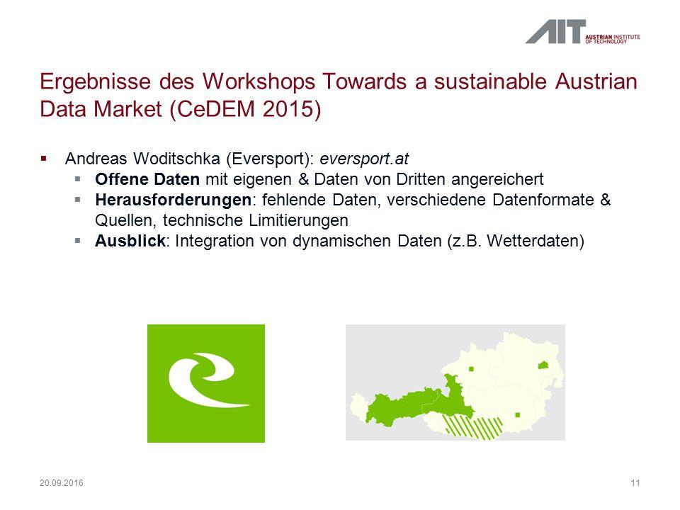 Ergebnisse des Workshops Towards a sustainable Austrian Data Market (CeDEM 2015)  Andreas Woditschka (Eversport): eversport.at  Offene Daten mit eig