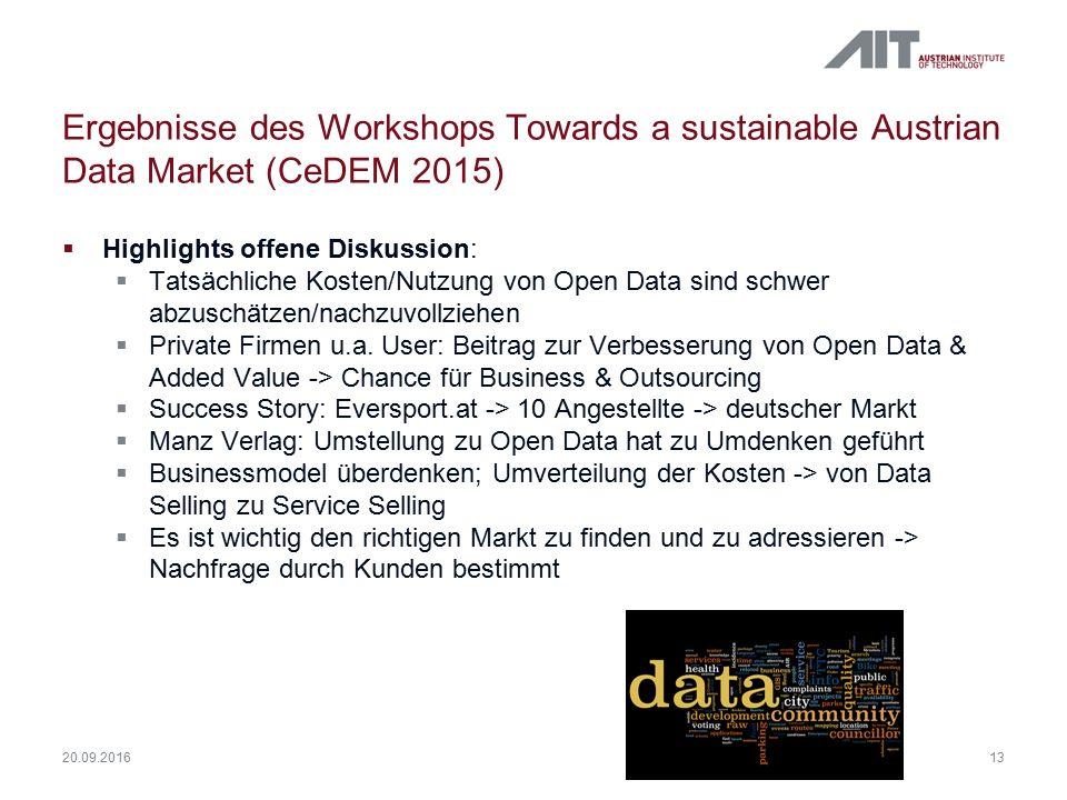 Ergebnisse des Workshops Towards a sustainable Austrian Data Market (CeDEM 2015)  Highlights offene Diskussion:  Tatsächliche Kosten/Nutzung von Ope