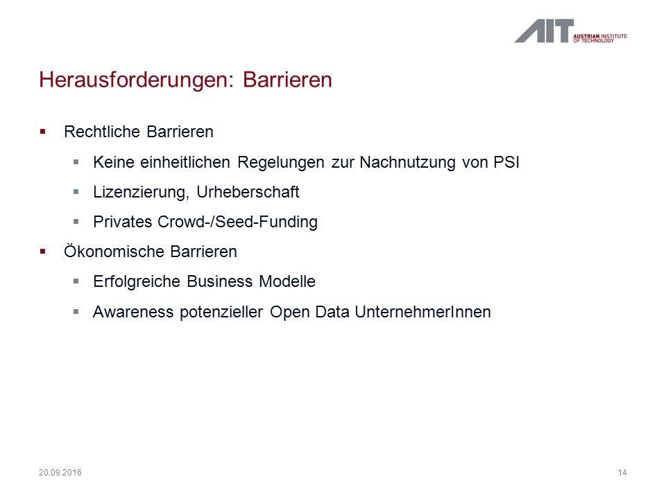 Herausforderungen: Barrieren  Rechtliche Barrieren  Keine einheitlichen Regelungen zur Nachnutzung von PSI  Lizenzierung, Urheberschaft  Privates