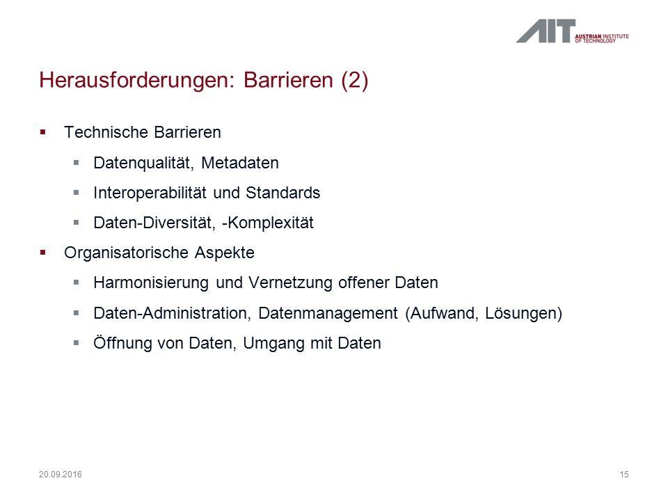 Herausforderungen: Barrieren (2)  Technische Barrieren  Datenqualität, Metadaten  Interoperabilität und Standards  Daten-Diversität, -Komplexität  Organisatorische Aspekte  Harmonisierung und Vernetzung offener Daten  Daten-Administration, Datenmanagement (Aufwand, Lösungen)  Öffnung von Daten, Umgang mit Daten 15 20.09.2016