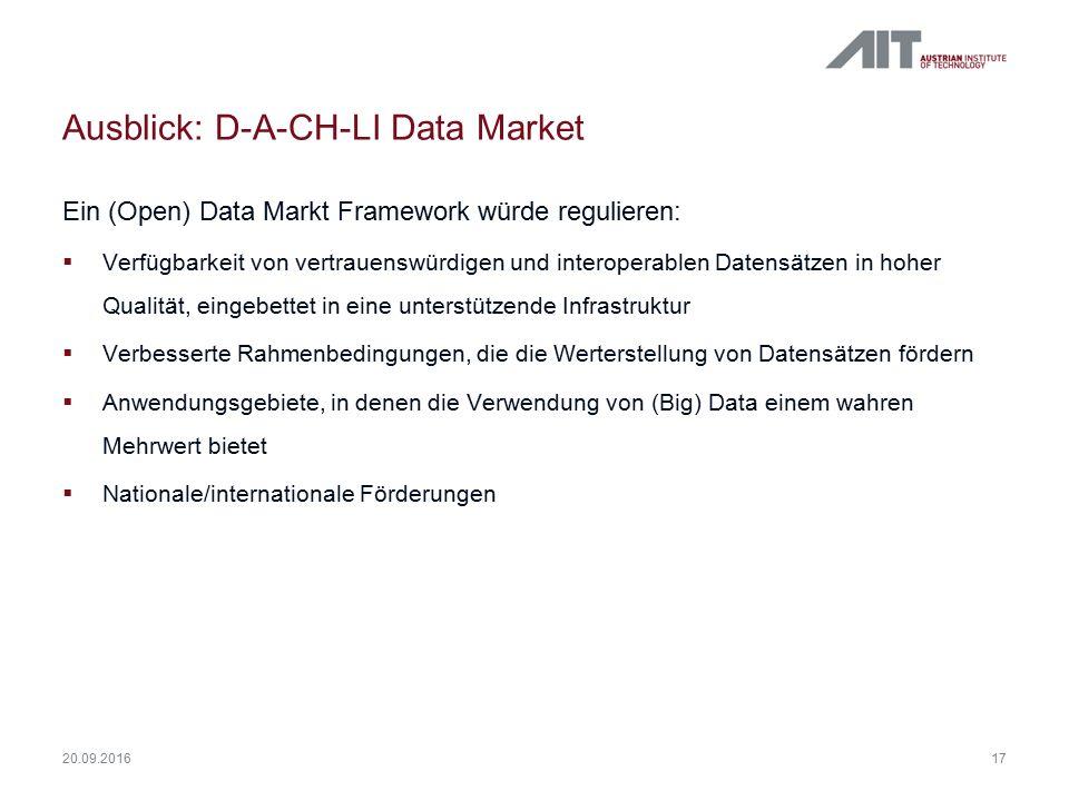 Ausblick: D-A-CH-LI Data Market Ein (Open) Data Markt Framework würde regulieren:  Verfügbarkeit von vertrauenswürdigen und interoperablen Datensätzen in hoher Qualität, eingebettet in eine unterstützende Infrastruktur  Verbesserte Rahmenbedingungen, die die Werterstellung von Datensätzen fördern  Anwendungsgebiete, in denen die Verwendung von (Big) Data einem wahren Mehrwert bietet  Nationale/internationale Förderungen 17 20.09.2016