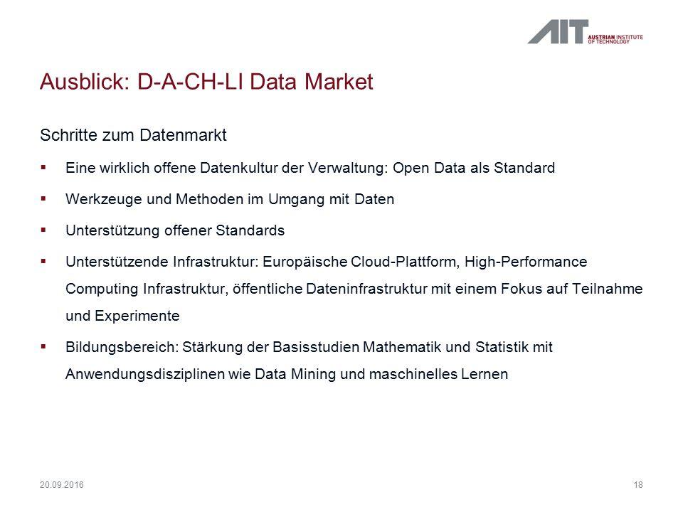 Ausblick: D-A-CH-LI Data Market Schritte zum Datenmarkt  Eine wirklich offene Datenkultur der Verwaltung: Open Data als Standard  Werkzeuge und Meth