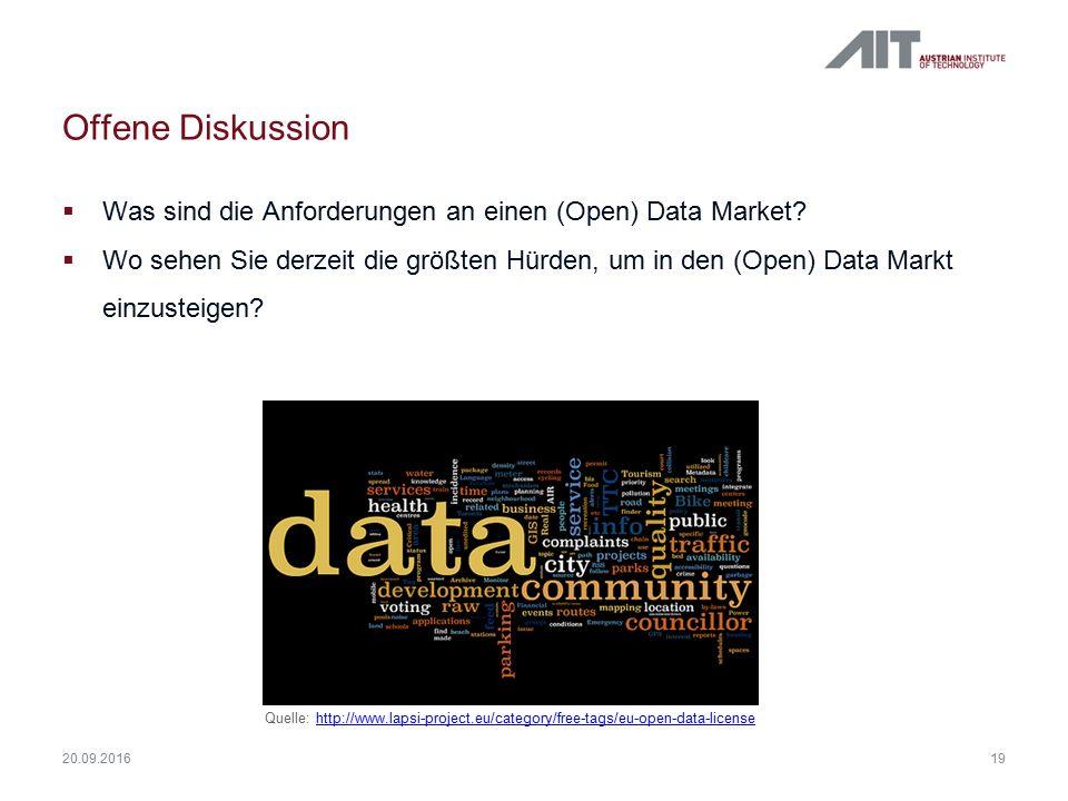 Offene Diskussion  Was sind die Anforderungen an einen (Open) Data Market?  Wo sehen Sie derzeit die größten Hürden, um in den (Open) Data Markt ein