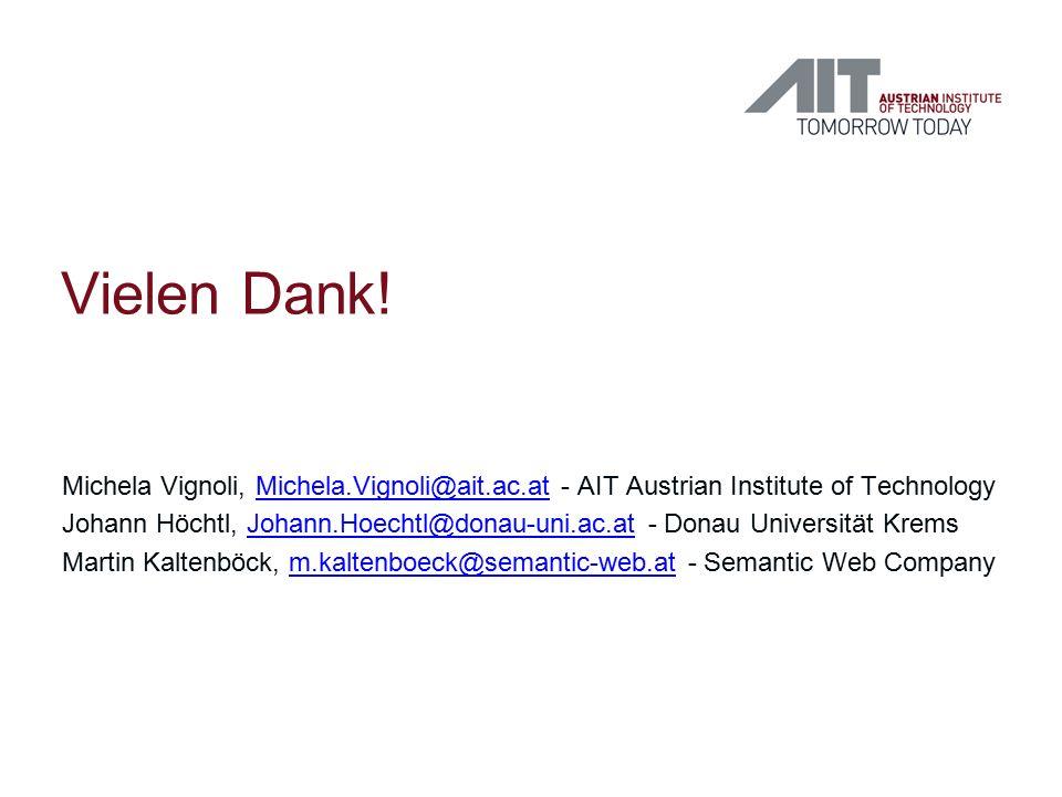 Vielen Dank! Michela Vignoli, Michela.Vignoli@ait.ac.at - AIT Austrian Institute of TechnologyMichela.Vignoli@ait.ac.at Johann Höchtl, Johann.Hoechtl@