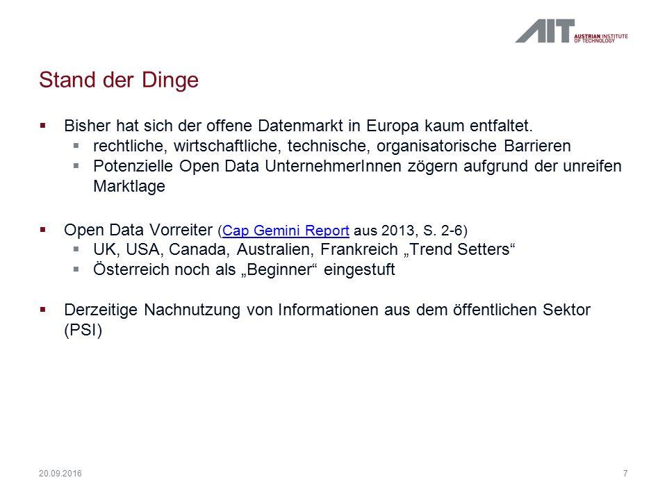 Stand der Dinge  Bisher hat sich der offene Datenmarkt in Europa kaum entfaltet.  rechtliche, wirtschaftliche, technische, organisatorische Barriere