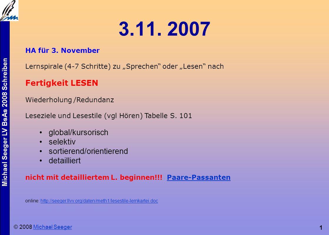 Michael Seeger LV BsAs 2008 Schreiben 12 Schreiben als Prozess Tagebuch Mitschrift Notizen (Einkaufszettel etc.) Ideen kommen beim Schreiben (vgl.
