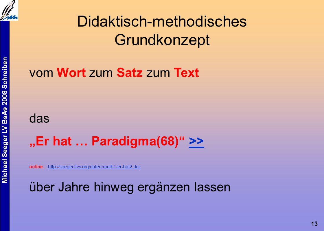 """Michael Seeger LV BsAs 2008 Schreiben 13 Didaktisch-methodisches Grundkonzept vom Wort zum Satz zum Text das """"Er hat … Paradigma(68) >>>> online: http://seeger.llvv.org/daten/meth1/er-hat2.doc http://seeger.llvv.org/daten/meth1/er-hat2.doc über Jahre hinweg ergänzen lassen"""