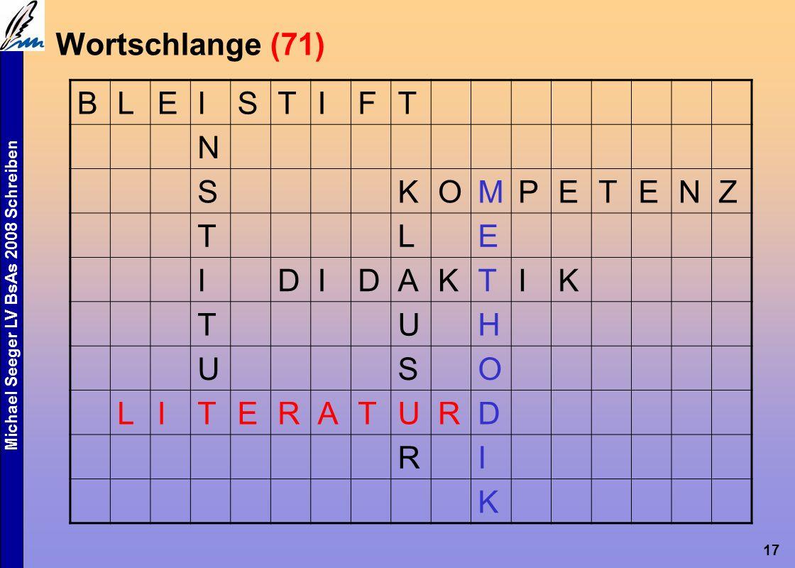 Michael Seeger LV BsAs 2008 Schreiben 17 Wortschlange (71) BLEISTIFT N SKOMPETENZ TLE IDIDAKTIK TUH USO LITERATURD RI K