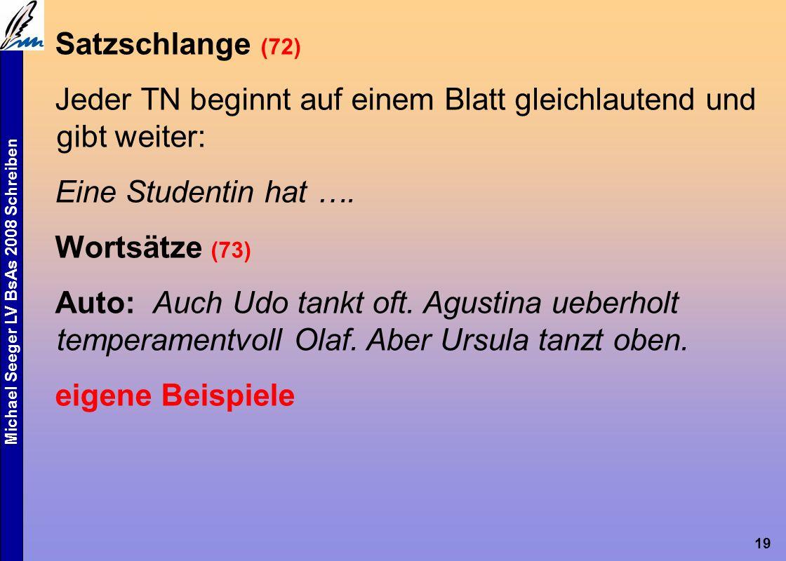Michael Seeger LV BsAs 2008 Schreiben 19 Satzschlange (72) Jeder TN beginnt auf einem Blatt gleichlautend und gibt weiter: Eine Studentin hat ….