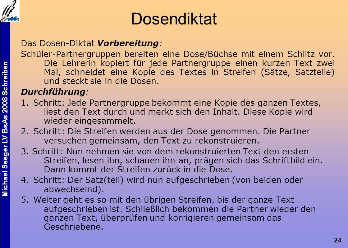 Michael Seeger LV BsAs 2008 Schreiben 24 Das Dosen-Diktat Vorbereitung: Schüler-Partnergruppen bereiten eine Dose/Büchse mit einem Schlitz vor.