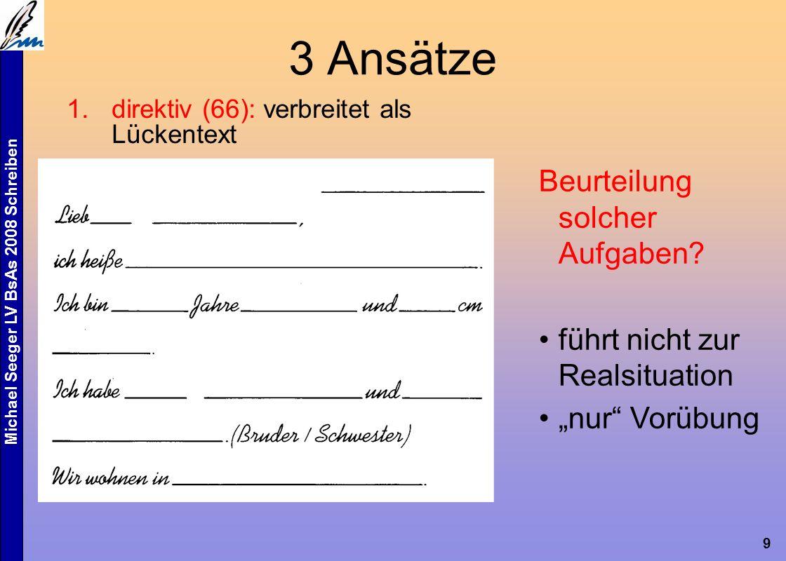 Michael Seeger LV BsAs 2008 Schreiben 10 3 Ansätze 2.textlinguistisch: wer schreibt wie für wen.