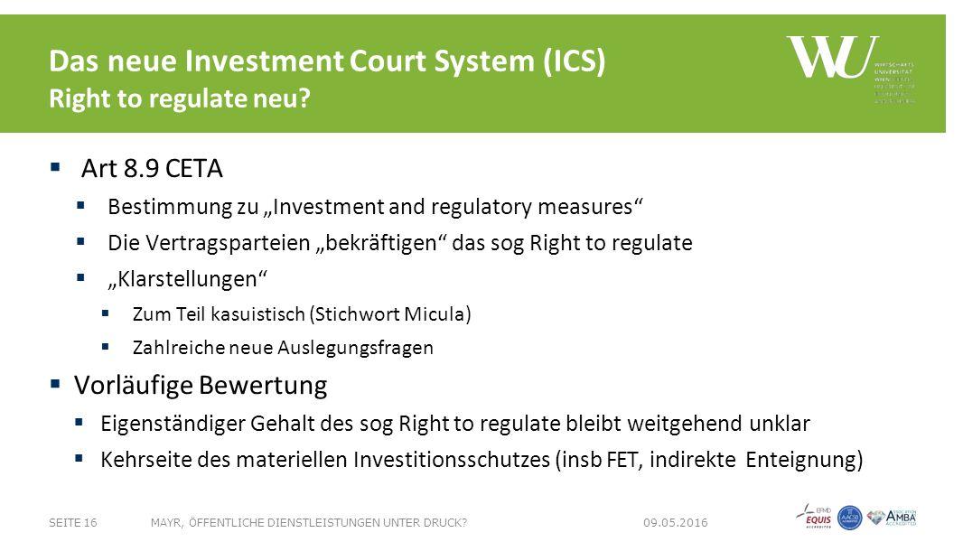Das neue Investment Court System (ICS) Right to regulate neu.