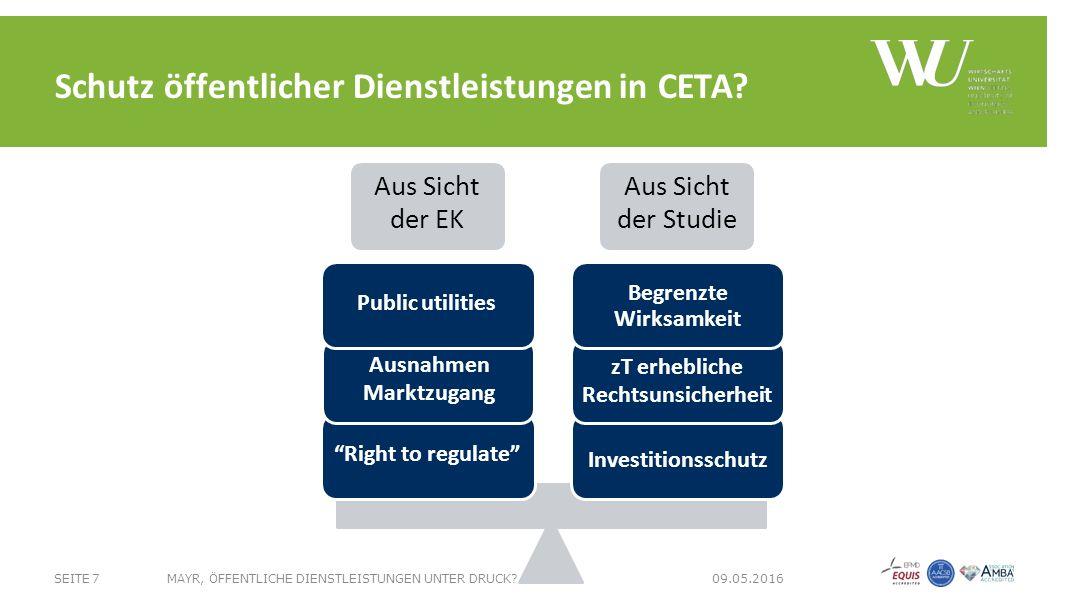 Aus Sicht der EK Aus Sicht der Studie Begrenzte Wirksamkeit zT erhebliche Rechtsunsicherheit Investitionsschutz Right to regulate Ausnahmen Marktzugang Public utilities SEITE 7MAYR, ÖFFENTLICHE DIENSTLEISTUNGEN UNTER DRUCK.