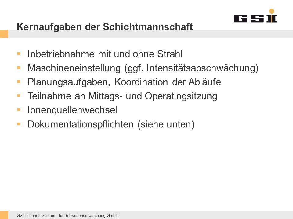 GSI Helmholtzzentrum für Schwerionenforschung GmbH Kernaufgaben der Schichtmannschaft  Inbetriebnahme mit und ohne Strahl  Maschineneinstellung (ggf