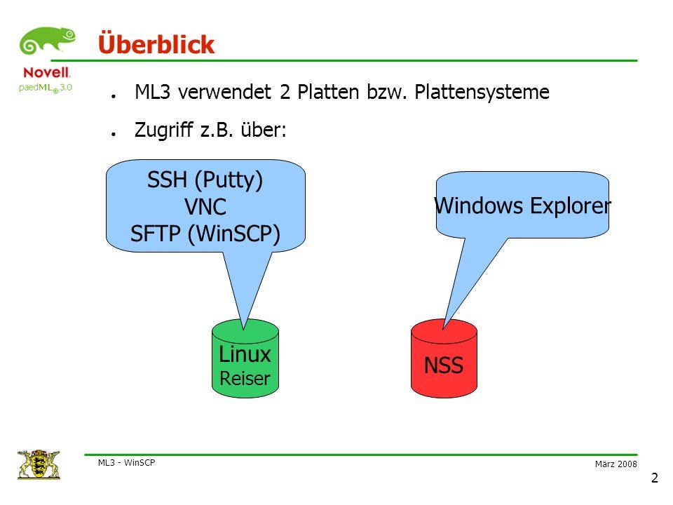 März 2008 ML3 - WinSCP 3 Installation (1) ● WinSCP herunterladen von http://winscp.net/eng/docs/lang:de ● Installations- und Sprachenanleitung beachten ● Alternativ: Portable Version: http://sourceforge.net/projects/winscppe/ ● WinSCP starten ● Fenster zur Eingabe von Verbindungsdaten