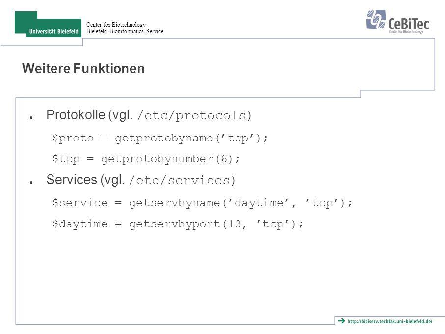 Center for Biotechnology Bielefeld Bioinformatics Service Aufgaben ● Schreibe einen Server, der auf Verbindungen wartet, zwei Zeilen Text sendet und dann die Verbindung schließt.