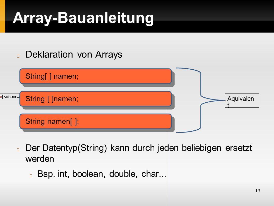 13 Array-Bauanleitung Deklaration von Arrays Der Datentyp(String) kann durch jeden beliebigen ersetzt werden Bsp. int, boolean, double, char... String