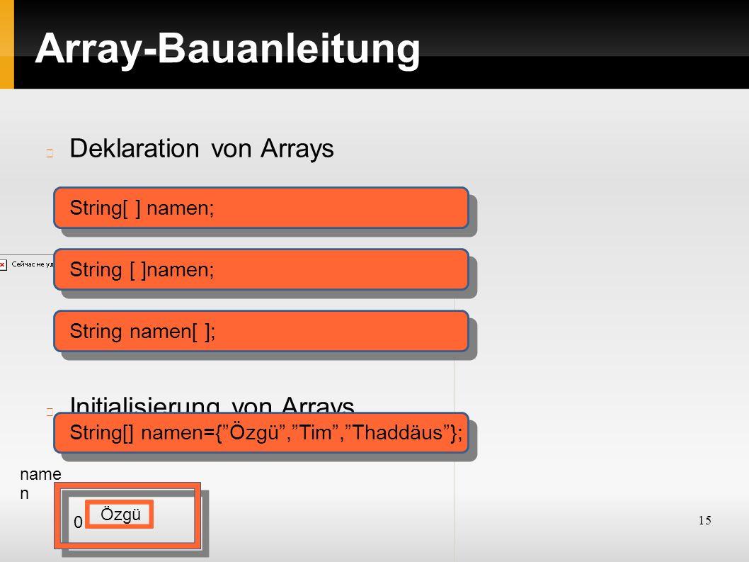 15 Array-Bauanleitung Deklaration von Arrays Initialisierung von Arrays String[ ] namen; String namen[ ]; String[] namen={ Özgü , Tim , Thaddäus }; name n Özgü 0